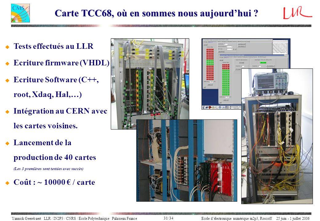 Yannick Geerebaert LLR / IN2P3 / CNRS / Ecole Polytechnique Palaiseau FranceEcole délectronique numérique in2p3, Roscoff 25 juin - 1 juillet 2006 31/3