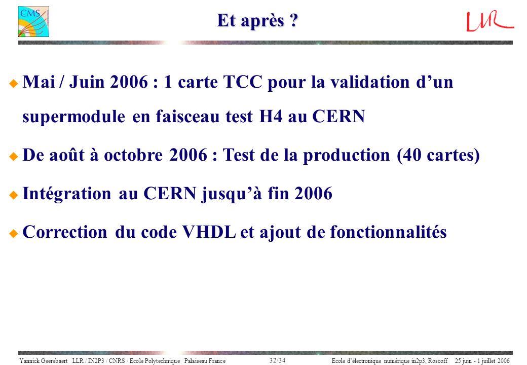 Yannick Geerebaert LLR / IN2P3 / CNRS / Ecole Polytechnique Palaiseau FranceEcole délectronique numérique in2p3, Roscoff 25 juin - 1 juillet 2006 32/3