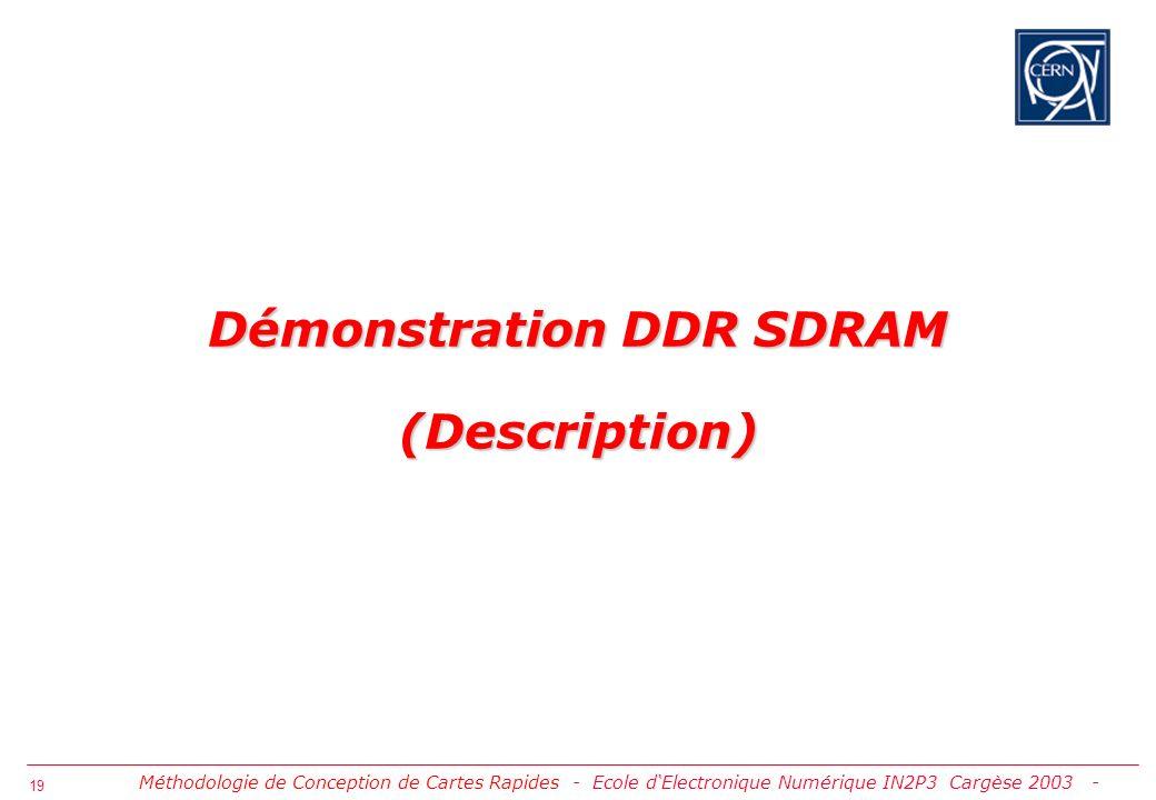 20 Objet de la Démonstration Placer et Router sur une Carte Mezzanine un Sous Ensemble dInterface DDR SDRAM (D6) en Utilisant les Directives dImplantation Physique Délivrées par le Constructeur du Processeur de Réseau NP4GS3 Placer et Router sur une Carte Mezzanine un Sous Ensemble dInterface DDR SDRAM (D6) en Utilisant les Directives dImplantation Physique Délivrées par le Constructeur du Processeur de Réseau NP4GS3 A B C D NP4GS3 2x 8Mx16 DDR (D0) 2x 32Mx4 DDR DATA (D6) 2x 32Mx4 DDR DATA (D6) 2x 32Mx4 DDR PARITY (D6) 2x 8Mx16 DDR DATA (DS1) 2x 8Mx16 DDR DATA (DS0) 2x 8Mx16 PARITY (D4) 8Mx16 DDR (D1) 8Mx16 DDR (D2) 8Mx16 DDR (D3) 2x 512kx18 SRAM (LU) 512kx18 SRAM (SCH) DMUs PCI 32bits 33/66MHz DASL A & B DRAM Control DRAM Data DRAM Control DRAM Data JTAG 3.3V 1.8V 2.5V 53.3 MHZ 125 MHZ 64 MB DDR SDRAM 6 Samsung (32X4) K4H280438C-TCA2 I/O technologies Stub series Terminated Logic 2.5V (SSTL2) & CMOS 66 pins TSOP II Package D6 INTERFACE ARCHITECTURE 18 bits DATA BUS 13 bits ADDRESS BUS Differential Clock Clock Cycle 133 MHZ Double-data rate architecture; two transfers per clock cycle I/O technologies Stub series Terminated Logic 2.5V (SSTL2)& CMOS Méthodologie de Conception de Cartes Rapides - Démo DDR SDRAM (Description) -