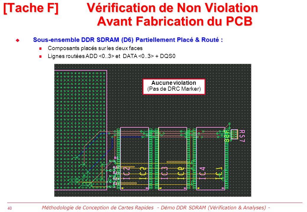 41 CM2SQ: Exemple de Violation de Contrainte CM2SQ: Exemple de Violation de Contrainte Violation de longueur length max ligne DQS0 [Tache F] Vérification de Non Violation Avant Fabrication du PCB Méthodologie de Conception de Cartes Rapides - Démo DDR SDRAM (Vérification & Analyses) -
