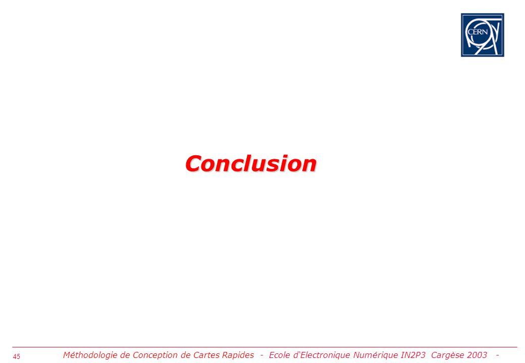46 Conclusion sur la Méthodologie Le flux de conception de circuits imprimés rapides PSD 14.2 de Cadence basé sur le Constraint Manager assure de manière intégrée la création, la gestion ainsi que la validation des intentions du concepteur Le flux est guidé par les directives du constructeur dIC ou par les propres règles de layout du concepteur Sur lexemple DDR SDRAM nous avons démontré que le flux est capable de traiter de manière automatique des lignes aux contraintes multiples La prise en compte des contraintes damont en aval de la conception augmentent les chances dobtenir un prototype correct par construction Les simulations paramétriques de la technologie du circuit imprimé et du silicium permettent de définir le domaine de bon fonctionnement en production Lexpérience que nous avons de la version PSD14.2 prouve quelle est maintenant suffisamment stable Des versions antérieures alors que le Contraint Manager nexistait pas ont été utilisées avec succès au Cern et par certains instituts IN2P3 Voir site Intranet Cern http://cern.ch/support-specctraquest Méthodologie de Conception de Cartes Rapides - Conclusion -