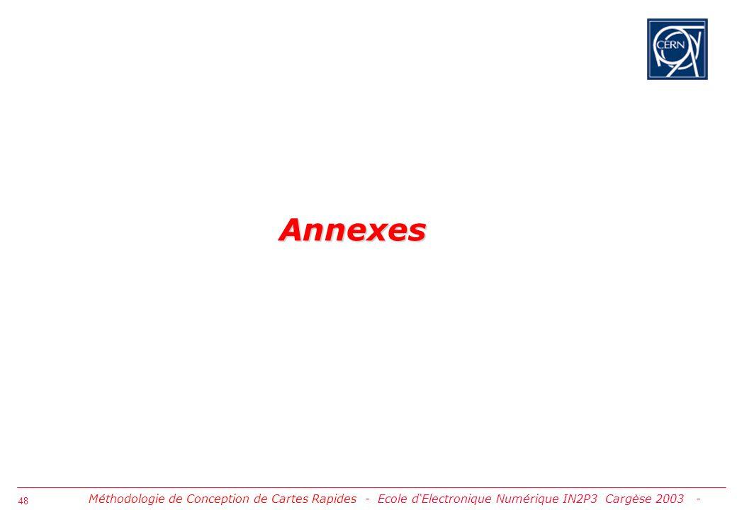 49 Annexe 1: Approvisionnement et Vérification des Modèles IBIS Approvisionnement Modèles IBIS Vérification syntaxes IBIS puis DML Vérification de base de la précision des modèles Méthodologie de Conception de Cartes Rapides - Annexes -