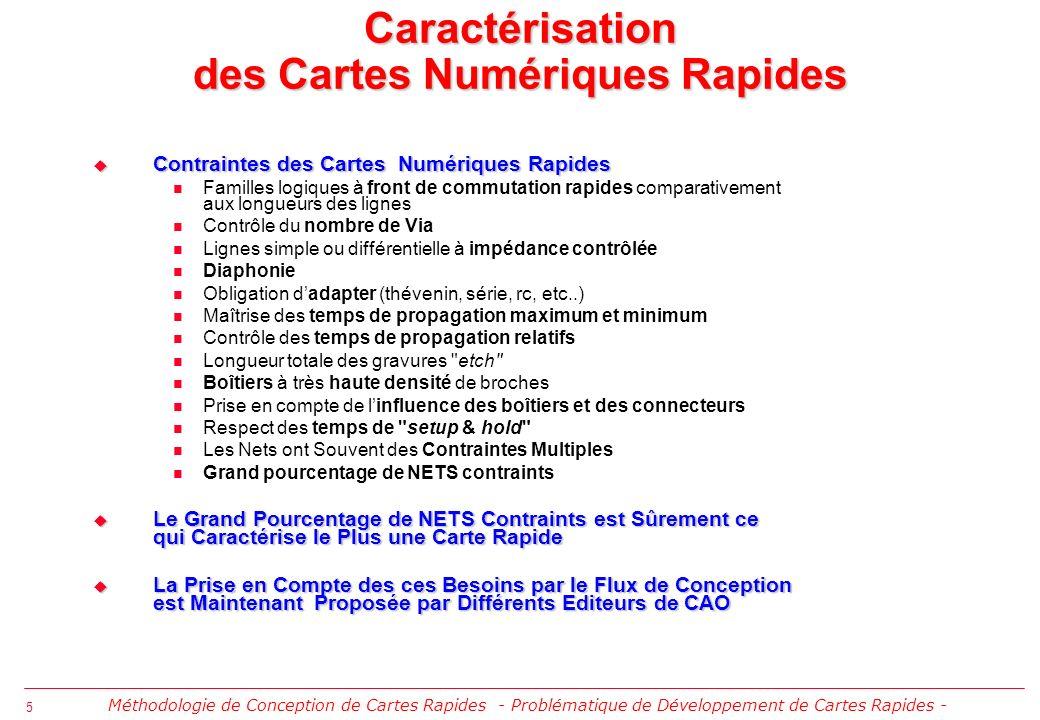 6 Méthodologie de Conception de Cartes Rapides - Ecole dElectronique Numérique IN2P3 Cargèse 2003 - Solution Basée sur le Flux de Conception de Circuits Imprimés Rapides de Cadence ®