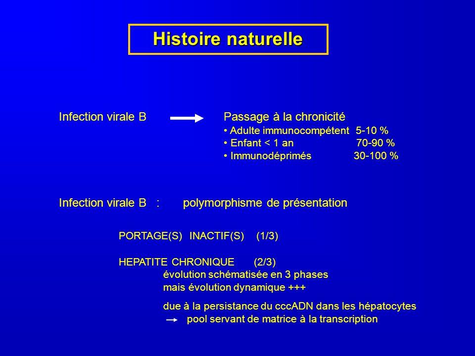 Histoire naturelle Infection virale BPassage à la chronicité Adulte immunocompétent 5-10 % Enfant < 1 an 70-90 % Immunodéprimés 30-100 % Infection virale B : polymorphisme de présentation PORTAGE(S) INACTIF(S) (1/3) HEPATITE CHRONIQUE (2/3) évolution schématisée en 3 phases mais évolution dynamique +++ due à la persistance du cccADN dans les hépatocytes pool servant de matrice à la transcription