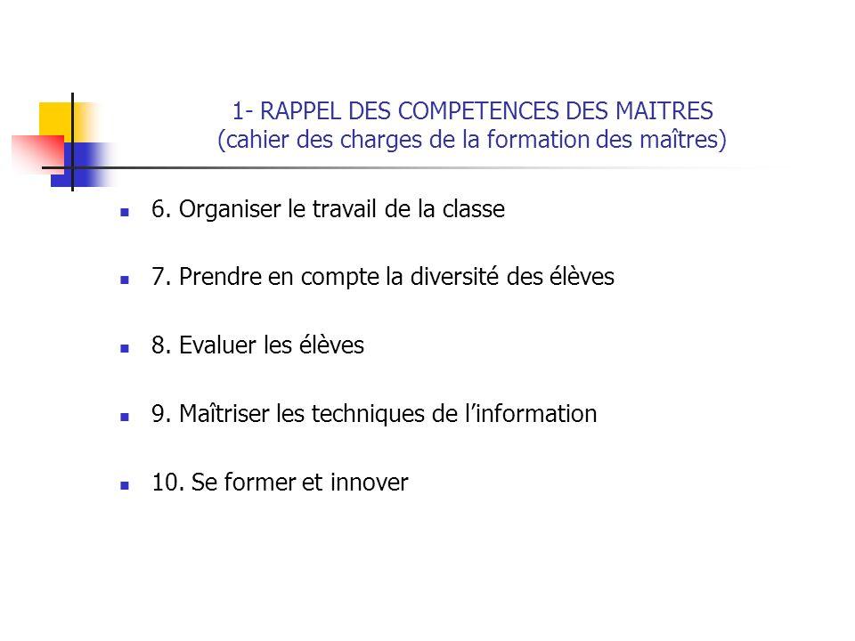 1- RAPPEL DES COMPETENCES DES MAITRES (cahier des charges de la formation des maîtres) 6. Organiser le travail de la classe 7. Prendre en compte la di