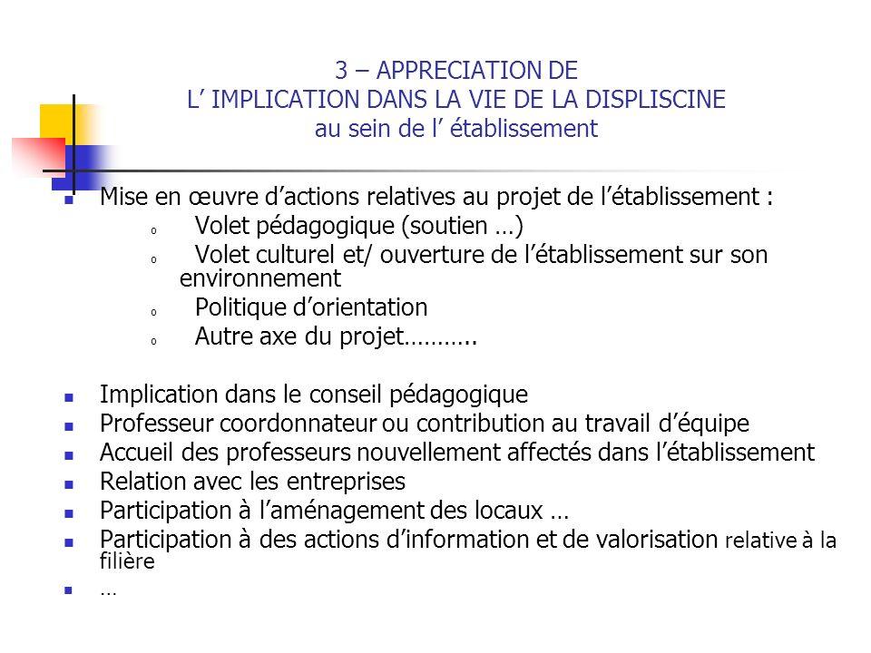 3 – APPRECIATION DE L IMPLICATION DANS LA VIE DE LA DISPLISCINE au sein de l établissement Mise en œuvre dactions relatives au projet de létablissemen
