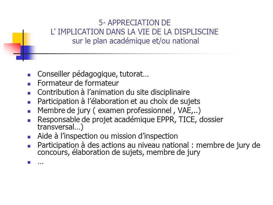 Conseiller pédagogique, tutorat… Formateur de formateur Contribution à lanimation du site disciplinaire Participation à lélaboration et au choix de su