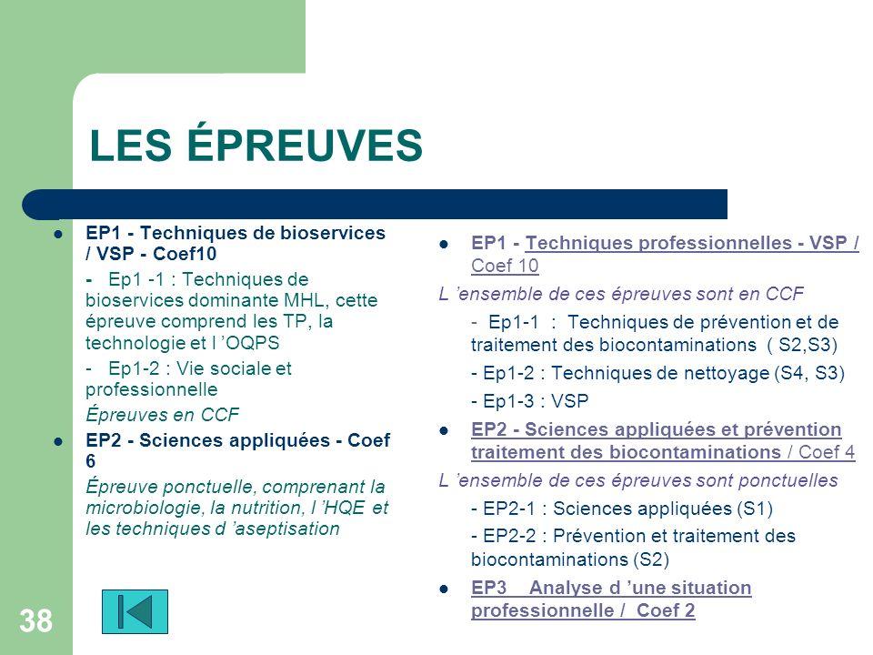 38 LES ÉPREUVES EP1 - Techniques de bioservices / VSP - Coef10 - Ep1 -1 : Techniques de bioservices dominante MHL, cette épreuve comprend les TP, la t