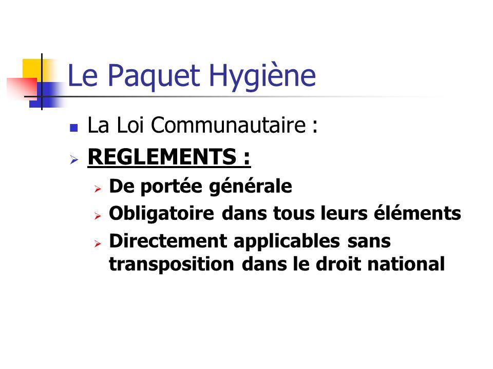 Le Paquet Hygiène La Loi Communautaire : REGLEMENTS : De portée générale Obligatoire dans tous leurs éléments Directement applicables sans transposition dans le droit national