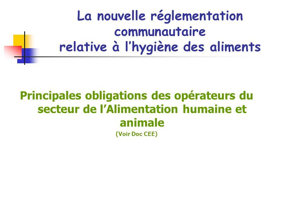 Principales obligations des opérateurs du secteur de lAlimentation humaine et animale (Voir Doc CEE) La nouvelle réglementation communautaire relative à lhygiène des aliments