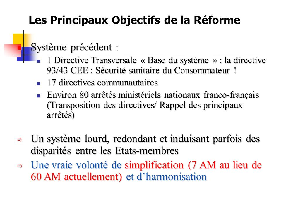 Les Principaux Objectifs de la Réforme Système précédent : Système précédent : 1 Directive Transversale « Base du système » : la directive 93/43 CEE : Sécurité sanitaire du Consommateur .