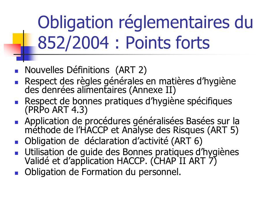 Obligation réglementaires du 852/2004 : Points forts Nouvelles Définitions (ART 2) Respect des règles générales en matières dhygiène des denrées alimentaires (Annexe II) Respect de bonnes pratiques dhygiène spécifiques (PRPo ART 4.3) Application de procédures généralisées Basées sur la méthode de lHACCP et Analyse des Risques (ART 5) Obligation de déclaration dactivité (ART 6) Utilisation de guide des Bonnes pratiques dhygiènes Validé et dapplication HACCP.