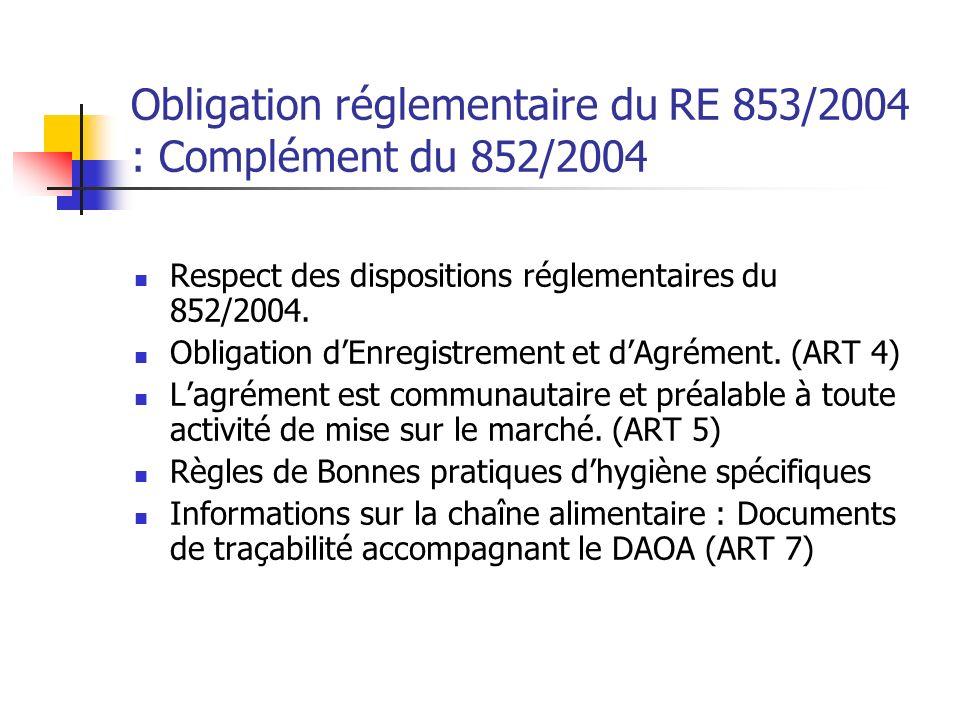 Obligation réglementaire du RE 853/2004 : Complément du 852/2004 Respect des dispositions réglementaires du 852/2004.