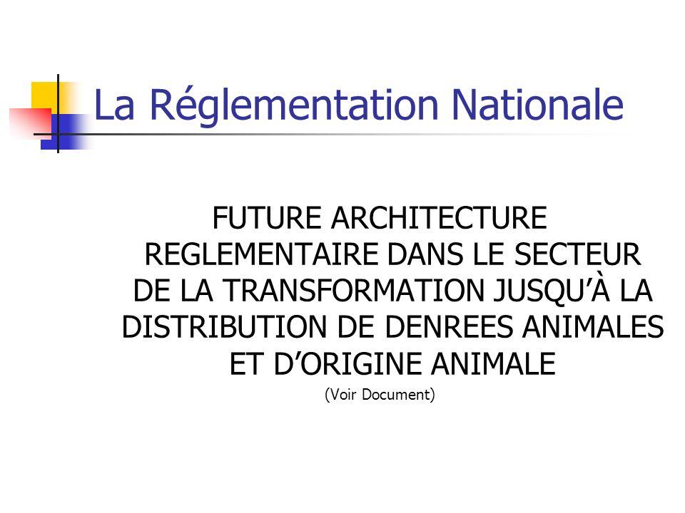 La Réglementation Nationale FUTURE ARCHITECTURE REGLEMENTAIRE DANS LE SECTEUR DE LA TRANSFORMATION JUSQUÀ LA DISTRIBUTION DE DENREES ANIMALES ET DORIGINE ANIMALE (Voir Document)