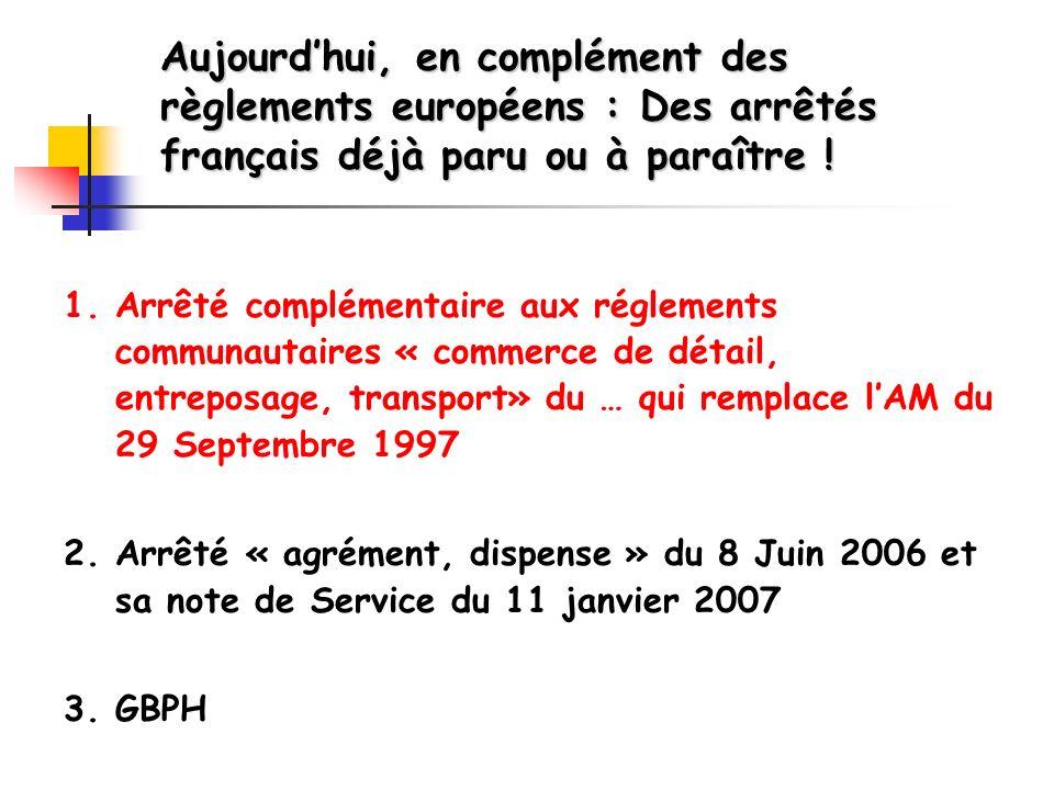1. Arrêté complémentaire aux réglements communautaires « commerce de détail, entreposage, transport» du … qui remplace lAM du 29 Septembre 1997 2. Arr