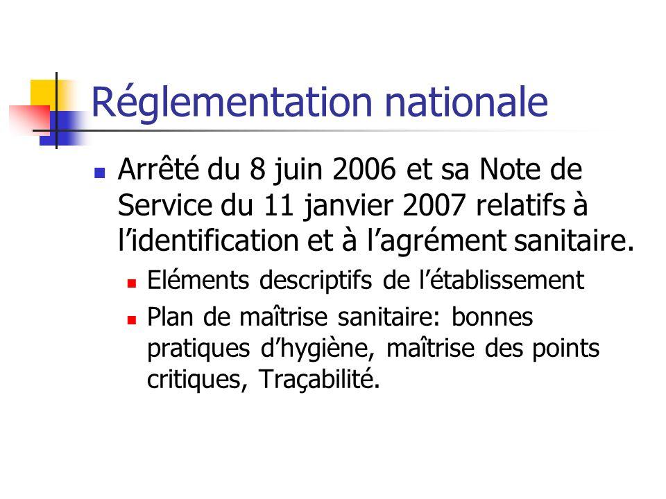 Réglementation nationale Arrêté du 8 juin 2006 et sa Note de Service du 11 janvier 2007 relatifs à lidentification et à lagrément sanitaire.