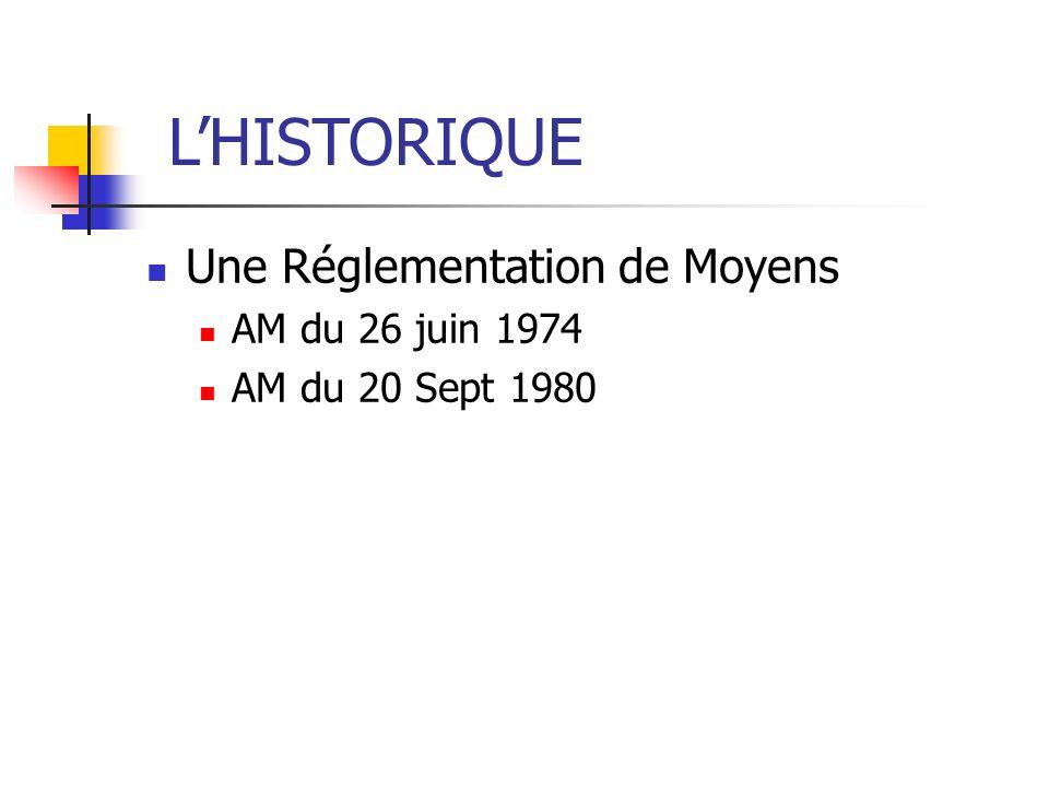 Une Réglementation de Moyens AM du 26 juin 1974 AM du 20 Sept 1980 LHISTORIQUE