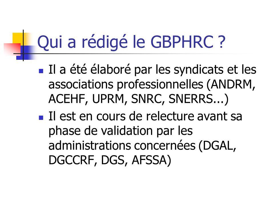 Qui a rédigé le GBPHRC .