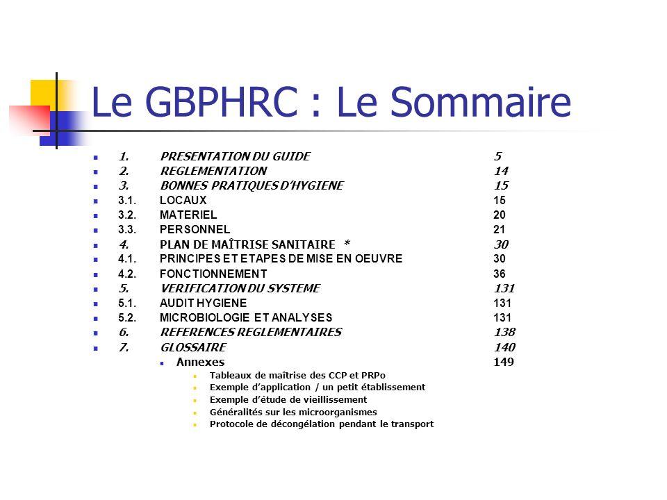 Le GBPHRC : Le Sommaire 1.PRESENTATION DU GUIDE5 2.REGLEMENTATION 14 3.BONNES PRATIQUES DHYGIENE15 3.1.LOCAUX15 3.2.MATERIEL20 3.3.PERSONNEL21 4.PLAN DE MAÎTRISE SANITAIRE *30 4.1.PRINCIPES ET ETAPES DE MISE EN OEUVRE30 4.2.FONCTIONNEMENT36 5.VERIFICATION DU SYSTEME131 5.1.AUDIT HYGIENE131 5.2.MICROBIOLOGIE ET ANALYSES131 6.REFERENCES REGLEMENTAIRES138 7.GLOSSAIRE140 Annexes149 Tableaux de maîtrise des CCP et PRPo Exemple dapplication / un petit établissement Exemple détude de vieillissement Généralités sur les microorganismes Protocole de décongélation pendant le transport