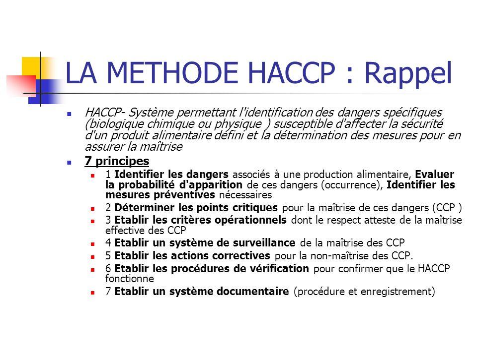 LA METHODE HACCP : Rappel HACCP- Système permettant l identification des dangers spécifiques (biologique chimique ou physique ) susceptible d affecter la sécurité d un produit alimentaire défini et la détermination des mesures pour en assurer la maîtrise 7 principes 1 Identifier les dangers associés à une production alimentaire, Evaluer la probabilité d apparition de ces dangers (occurrence), Identifier les mesures préventives nécessaires 2 Déterminer les points critiques pour la maîtrise de ces dangers (CCP ) 3 Etablir les critères opérationnels dont le respect atteste de la maîtrise effective des CCP 4 Etablir un système de surveillance de la maîtrise des CCP 5 Etablir les actions correctives pour la non-maîtrise des CCP.