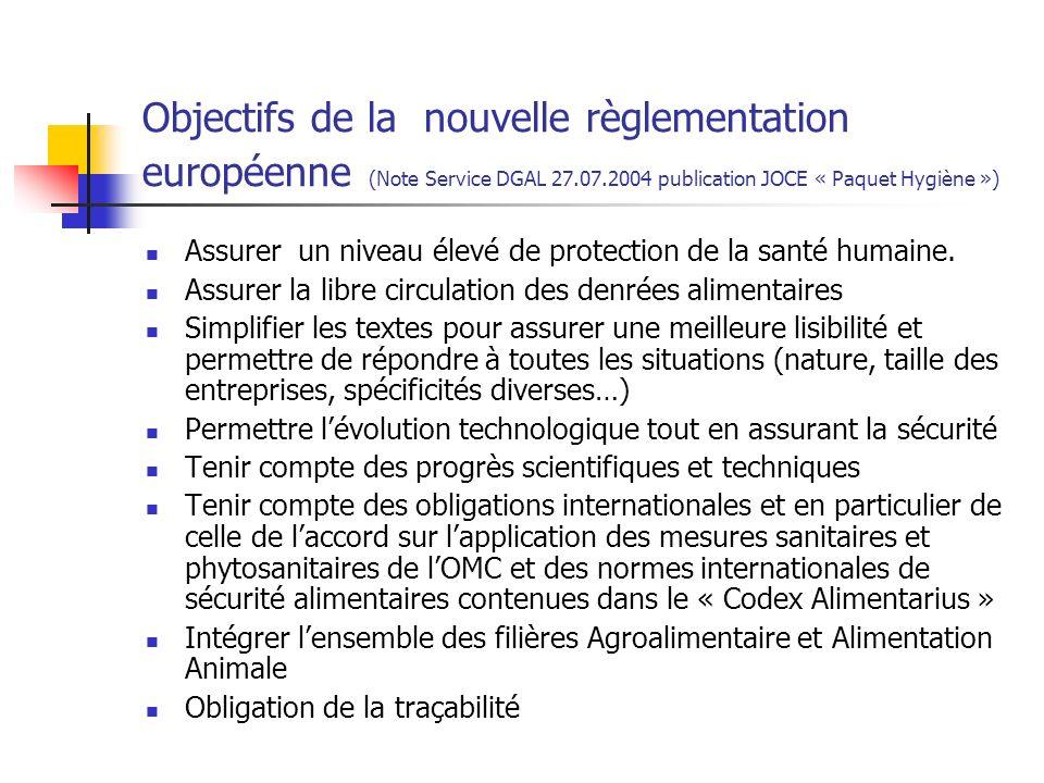 Objectifs de la nouvelle règlementation européenne (Note Service DGAL 27.07.2004 publication JOCE « Paquet Hygiène ») Assurer un niveau élevé de protection de la santé humaine.