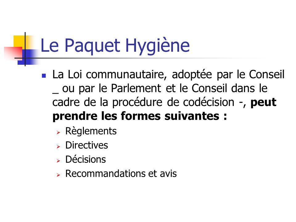 Le Paquet Hygiène La Loi communautaire, adoptée par le Conseil _ ou par le Parlement et le Conseil dans le cadre de la procédure de codécision -, peut prendre les formes suivantes : Règlements Directives Décisions Recommandations et avis