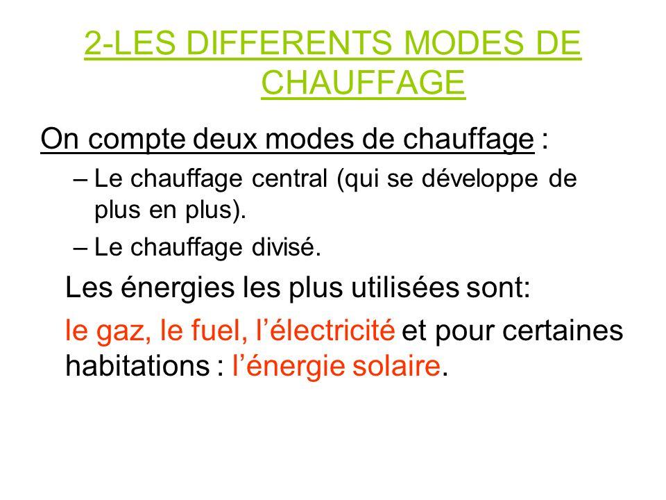 2-LES DIFFERENTS MODES DE CHAUFFAGE On compte deux modes de chauffage : –Le chauffage central (qui se développe de plus en plus). –Le chauffage divisé