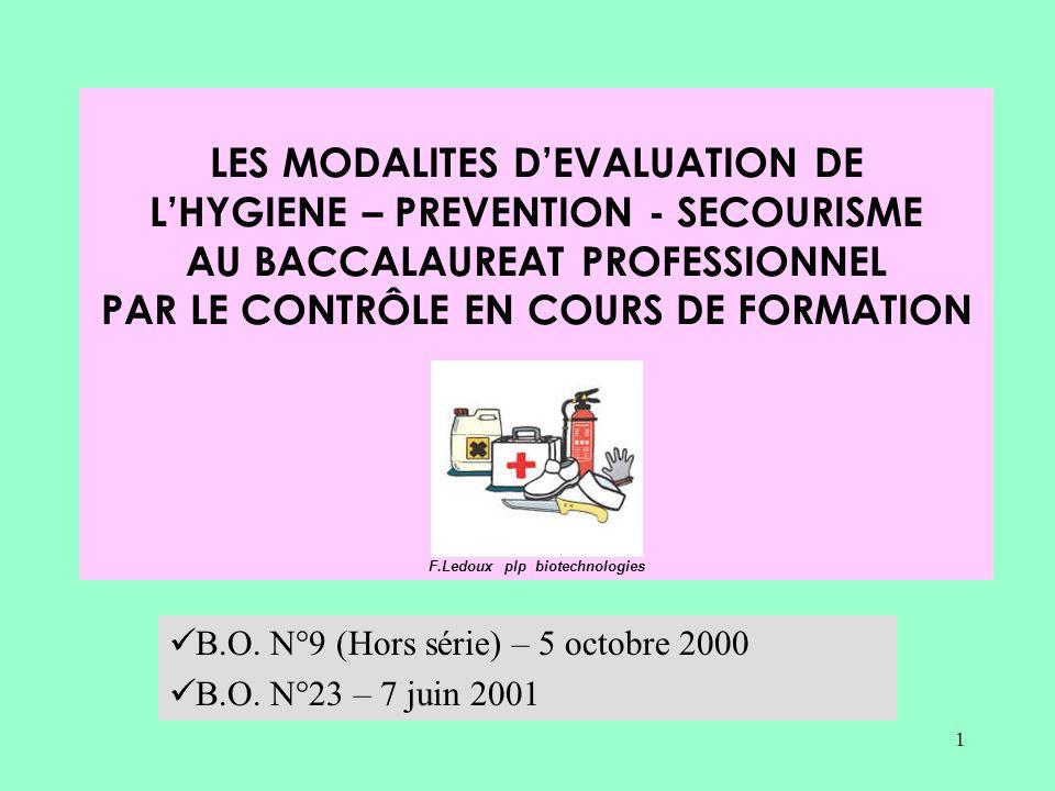 1 LES MODALITES DEVALUATION DE LHYGIENE – PREVENTION - SECOURISME AU BACCALAUREAT PROFESSIONNEL PAR LE CONTRÔLE EN COURS DE FORMATION F.Ledoux plp biotechnologies B.O.