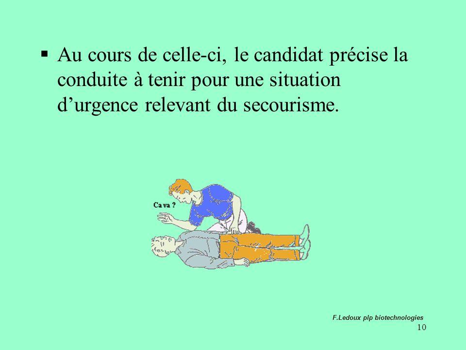 10 Au cours de celle-ci, le candidat précise la conduite à tenir pour une situation durgence relevant du secourisme. F.Ledoux plp biotechnologies