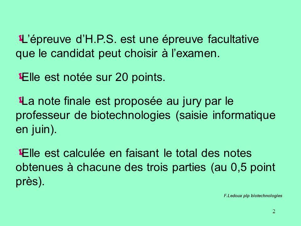 2 Lépreuve dH.P.S. est une épreuve facultative que le candidat peut choisir à lexamen.