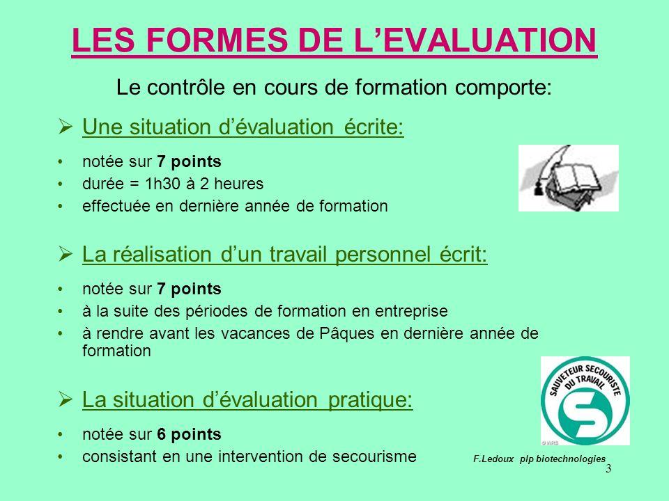 3 LES FORMES DE LEVALUATION Le contrôle en cours de formation comporte: Une situation dévaluation écrite: notée sur 7 points durée = 1h30 à 2 heures e