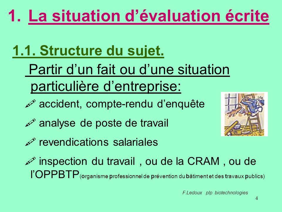 4 1.La situation dévaluation écrite Partir dun fait ou dune situation particulière dentreprise: accident, compte-rendu denquête analyse de poste de tr