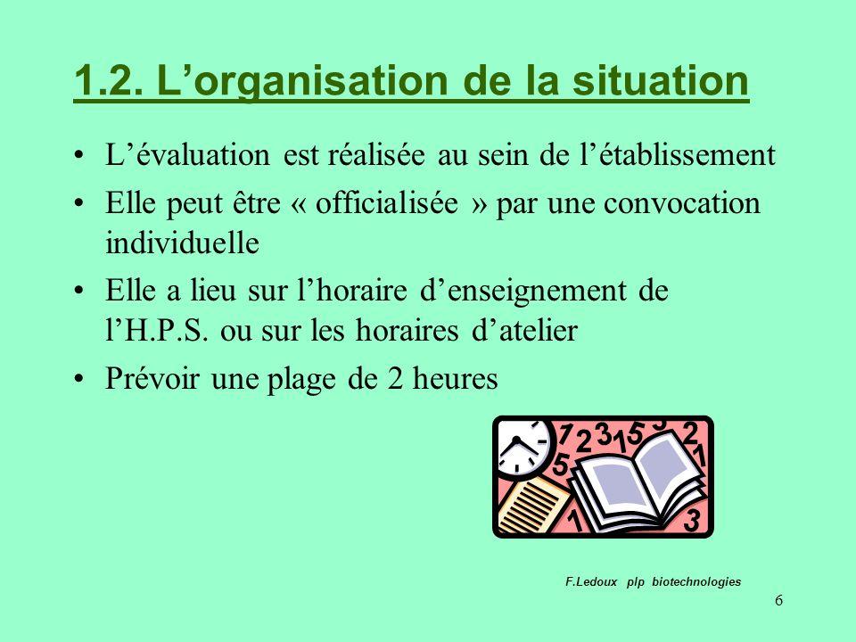 6 1.2. Lorganisation de la situation Lévaluation est réalisée au sein de létablissement Elle peut être « officialisée » par une convocation individuel