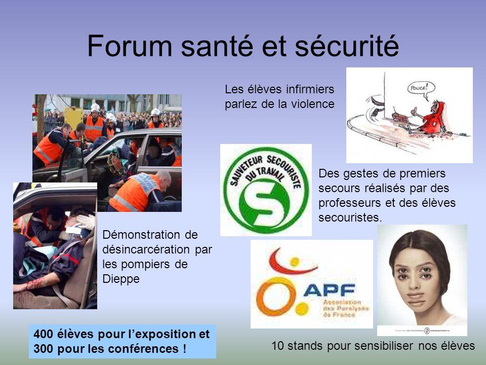 Forum santé et sécurité Démonstration de désincarcération par les pompiers de Dieppe Des gestes de premiers secours réalisés par des professeurs et des élèves secouristes.