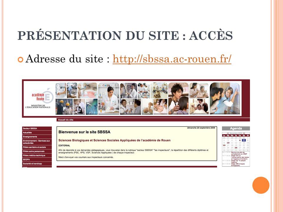 PRÉSENTATION DU SITE : CONTENU Le mot daccueil Le menu de navigation Lagenda Les brèves