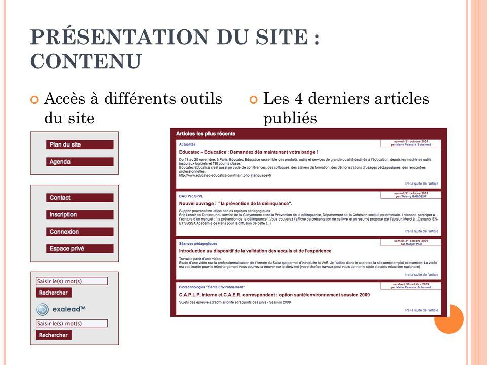 PRÉSENTATION DU SITE : CONTENU Accès à différents outils du site Les 4 derniers articles publiés