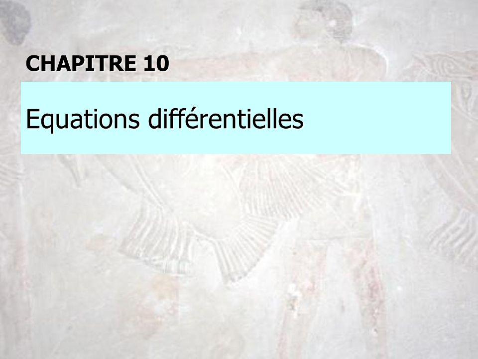 Equations différentielles CHAPITRE 10
