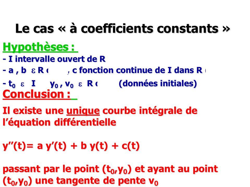 Le cas « à coefficients constants » Hypothèses : - I intervalle ouvert de R - a, b e R ou C, c fonction continue de I dans R (ou C) - t 0 e I y 0, v 0