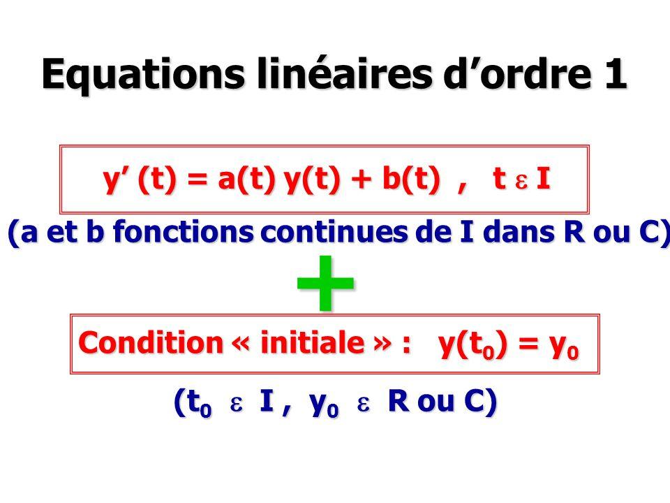 Equations linéaires dordre 1 y (t) = a(t) y(t) + b(t), t e I (a et b fonctions continues de I dans R ou C) Condition « initiale » : y(t 0 ) = y 0 (t 0