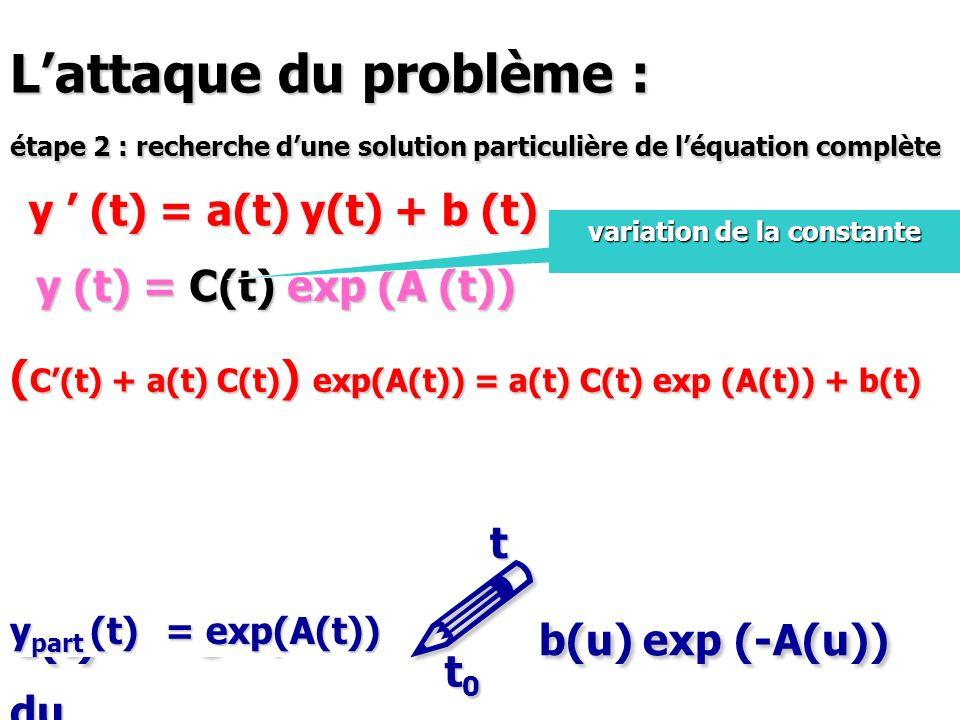 Lattaque du problème : étape 2 : recherche dune solution particulière de léquation complète y (t) = a(t) y(t) + b (t) y (t) = C(t) exp (A (t)) variati