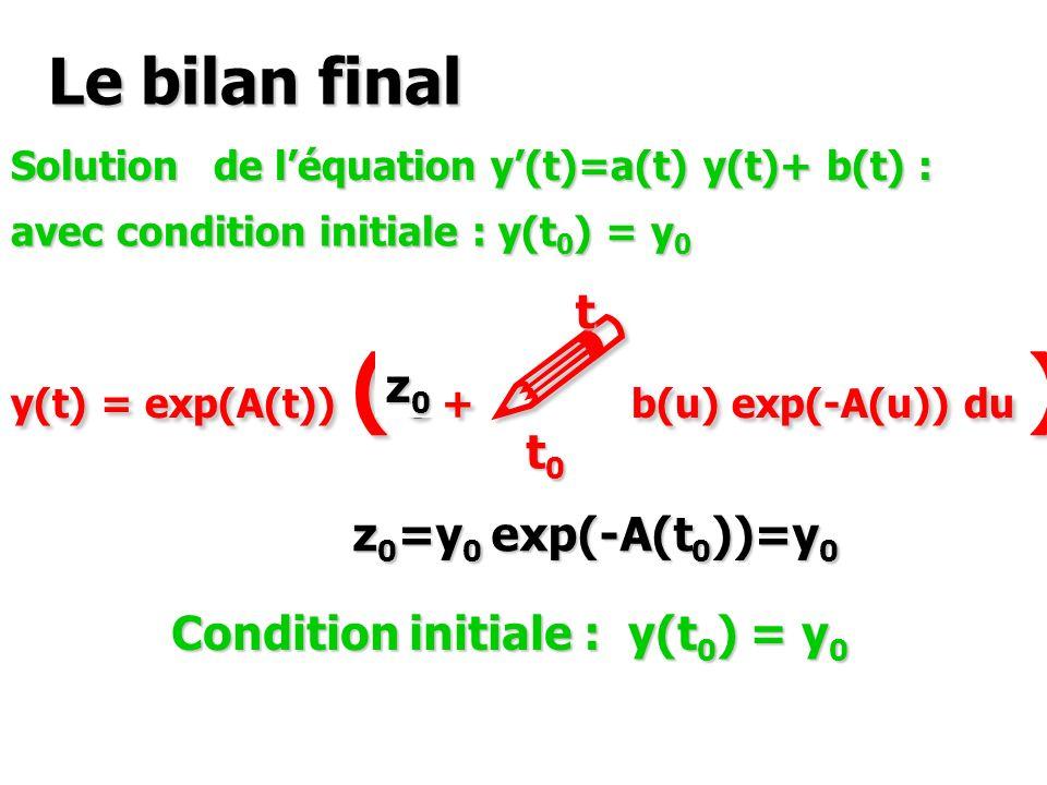 Le bilan final Solutions de léquation y(t)=a(t) y(t)+ b(t) : y(t) = exp(A(t)) ( C + ! b(u) exp(-A(u)) du ) t0t0t0t0 t Condition initiale : y(t 0 ) = y