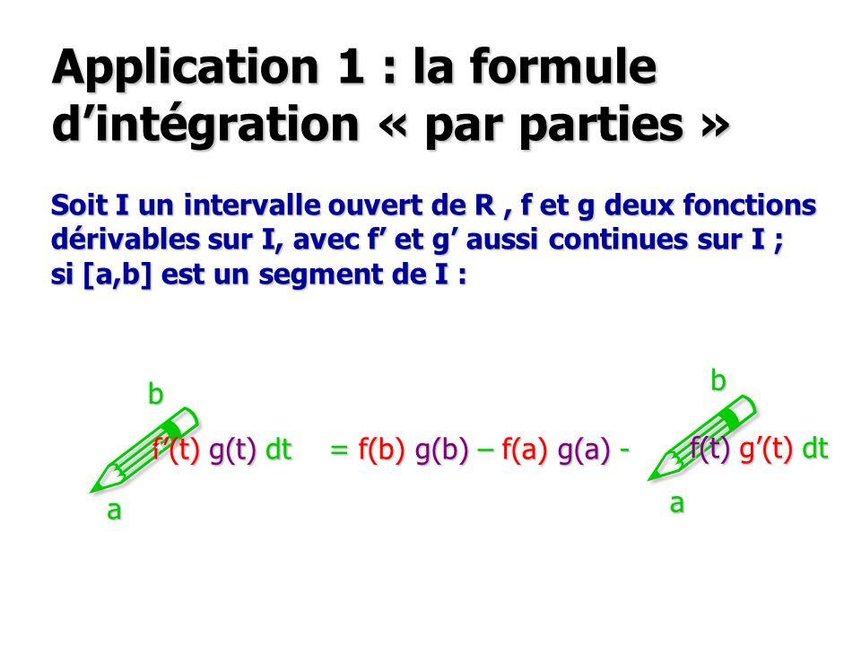 Application 1 : la formule dintégration « par parties » Soit I un intervalle ouvert de R, f et g deux fonctions dérivables sur I, avec f et g aussi continues sur I ; si [a,b] est un segment de I : .