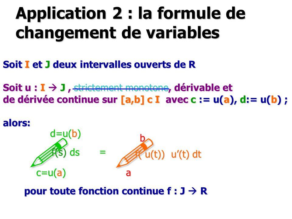 Application 2 : la formule de changement de variables Soit I et J deux intervalles ouverts de R Soit u : I J, strictement monotone, dérivable et de dérivée continue sur [a,b] c I avec c := u(a), d:= u(b) ; alors: .