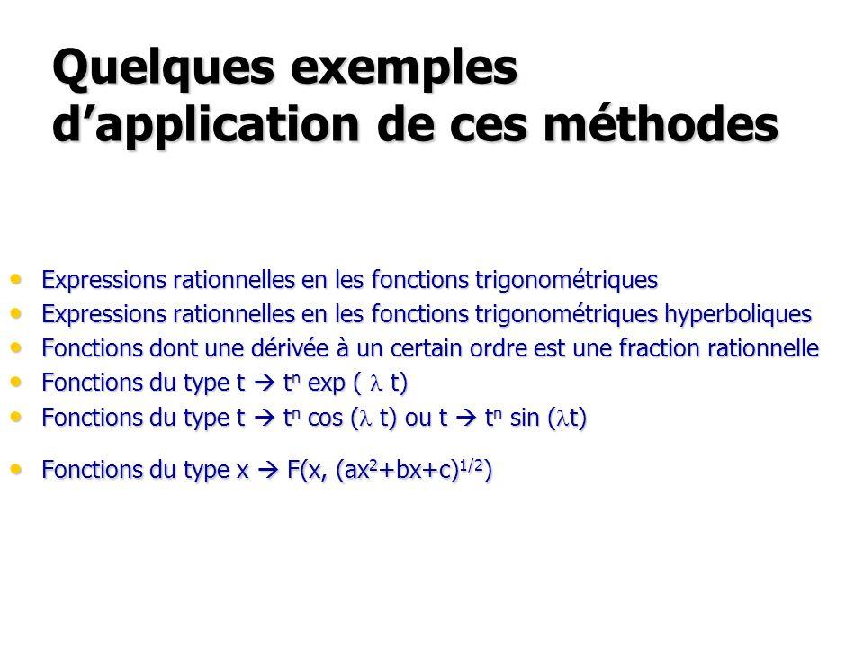Quelques exemples dapplication de ces méthodes Expressions rationnelles en les fonctions trigonométriques Expressions rationnelles en les fonctions trigonométriques Expressions rationnelles en les fonctions trigonométriques hyperboliques Expressions rationnelles en les fonctions trigonométriques hyperboliques Fonctions dont une dérivée à un certain ordre est une fraction rationnelle Fonctions dont une dérivée à un certain ordre est une fraction rationnelle Fonctions du type t t n exp ( l t) Fonctions du type t t n exp ( l t) Fonctions du type t t n cos ( l t) ou t t n sin ( l t) Fonctions du type t t n cos ( l t) ou t t n sin ( l t) Fonctions du type x F(x, (ax 2 +bx+c) 1/2 ) Fonctions du type x F(x, (ax 2 +bx+c) 1/2 )