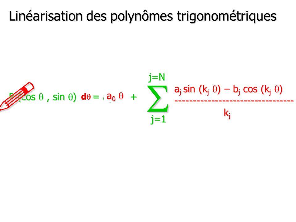 P (cos q, sin q ) = a 0 + (a j cos (k j q ) + b j sin (k j q )) S j=1 j=N Linéarisation des polynômes trigonométriques .