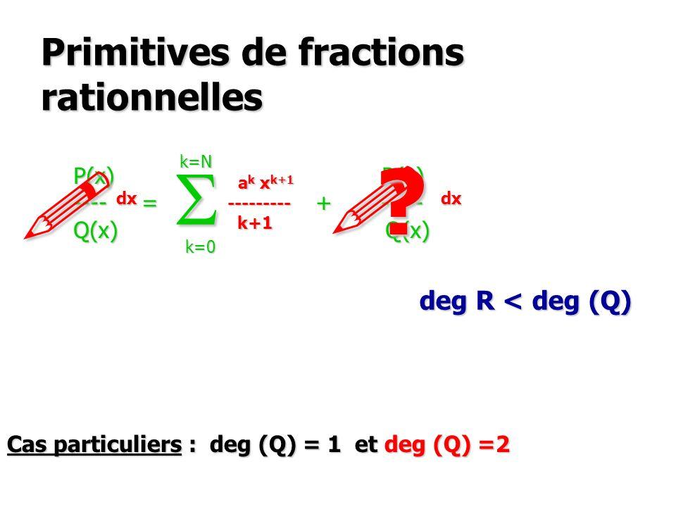 Primitives de fractions rationnelles P(x) R(x) ---- = a k x k + ----- Q(x) Q(x) S k=0 k=N deg R < deg (Q) .