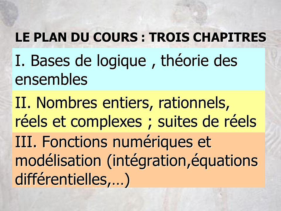 III. Fonctions numériques et modélisation (intégration,équations différentielles,…) II. Nombres entiers, rationnels, réels et complexes ; suites de ré