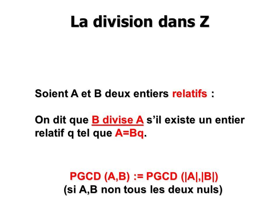 La division dans Z La division dans Z Soient A et B deux entiers relatifs : On dit que B divise A sil existe un entier relatif q tel que A=Bq. PGCD (A