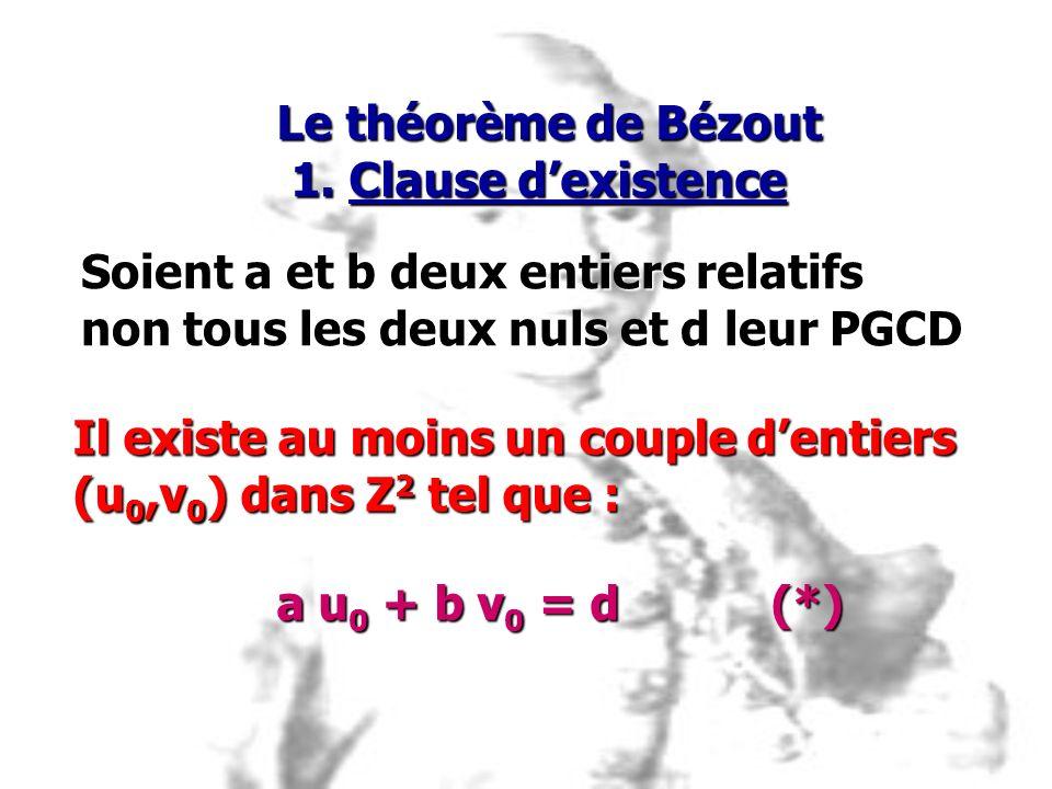 Soient a et b deux entiers relatifs non tous les deux nuls et d leur PGCD Il existe au moins un couple dentiers (u 0,v 0 ) dans Z 2 tel que : a u 0 +
