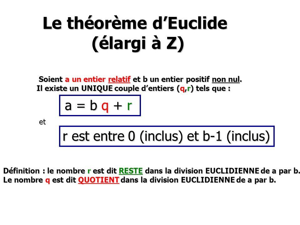 Le théorème dEuclide (élargi à Z) Le théorème dEuclide (élargi à Z) Soient a un entier relatif et b un entier positif non nul. Soient a un entier rela